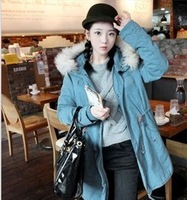 Korean winter thick hooded jacket collar Nagymaros long cashmere frock padded woman!