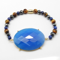 Natural Blue Agate Oval Semi-precious Stones and Round Multi-color Beads 18K Gold Plated Barrel Beads Bracelets, Free Shipping