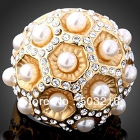 Free Shipping High Quality 18 K Imitation Diamond Australia Crystal Pearl Flower RingS