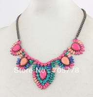 Auth 2013 New FRIDA Necklace Bright Colored Stone Long Statement  necklace Fashion Jewelry for women,Free Shipping