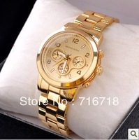 Shipping NEW STYLE lady rose gold Quart watch round stainless steel fashion wristwatch with calendar for men women