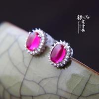 925 pure silver red corundum stud earring female anti-allergic vintageThai silver earring