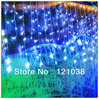 220V EU Plug 255 LED 3M curtain icicle string light Christmas Garden lamps Icicle Lights Wedding Party Decorations Free Shipping