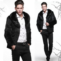 2013 autumn and winter male fur fox fur collar outerwear medium fur leather clothing