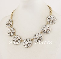 New Auth J-C/-J CRYSTAL ROSETTE NECKLACE 2013 Fashion Jewelry for Women Luxury Statement Necklace earring