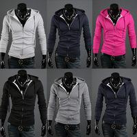 Male sweatshirt thin with a hood slim cardigan lovers sweatshirt outerwear top