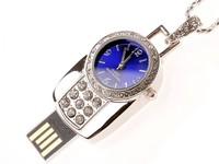 Free Shipping Crystal Pocket Watch Style 8GB 16GB 32GB  Jewelry Metal USB Flash Pen Drive U Disk Memory Blue Mirror