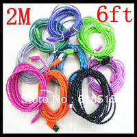 freeshipping 2M 10FT Nylon/Fabric Micro USB Extension Data Sync Cable For Samsung Galaxy S4/ for HTC
