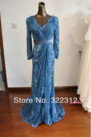 Elie Saab Couture Blue Lace V Neck Long Sleeve Beaded Applique Floor Length Elegant Formal Evening Prom Dress