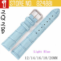 Genuine Leather Watchband Light Blue Watch Band Strap Belt Silver Pin Buckle 12 14 16 18 19 20 mm women's watchbands  302