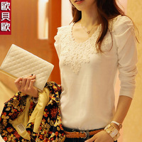 Women's autumn 2013 plus size t-shirt female long-sleeve slim lace plus velvet basic shirt