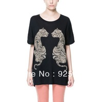 top for women fashion 2013 cotton sexy animal  tiger print short sleeve black color loose tee dress plus size free shipping