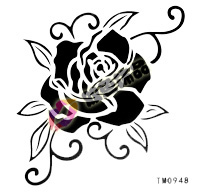 Tattoo stickers waterproof Women tattoo stickers black peony tm0948