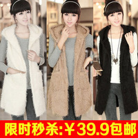 2013 wool sweater vest faux fashion all-match long design autumn and winter women patchwork vest