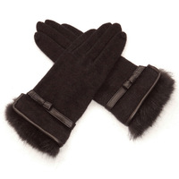 Hot-selling women's autumn and winter elegant rabbit fur gloves classic leather bow wool cashmere gloves