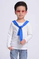 Clothing male child long-sleeve color block t-shirt collar belt 2013 autumn kids clothes
