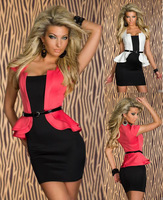 Fashion Sexy Gifts for Love Mini 2014 Summer Women Stretchy Black White Pink Work Peplum One Piece Dress  Free Shipping
