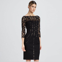 Hot Hot New Autumn Winter Fashion Women Slash Neck Lace Patch Design Fitted Dresss Black Elegant Formal Dresses 283