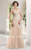 Free Shipping Fashion 2014 Chiffon V-neck Applique Formal Mother Of Bridal Dresses