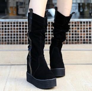2013 winter high elastic boots wedges elevator platform boots platform shoes single boots(China (Mainland))