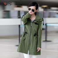 Women's autumn 2013 drawstring patchwork casual clothing female outerwear spring and autumn plus size trench