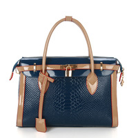 2013 new fashion woman bag candy color Boston woman shoulder bag tote bag Crocodile pattern designer handbags