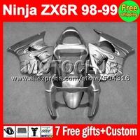 7gifts For KAWASAKI NINJA ZX6R 98 99 ! ZX 6R Silvery 636 ZX-6R MC639 ZX636 ZX-636 black flames 1998 1999 98-99  Fairing Kit
