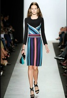 Free Shipping !2014 Autumn New Style 3/4 Sleeve Fashion Black Print&Striped Bodycon Dresses Runway
