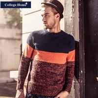 College home fashion men's clothing winter color block decoration slim sweater male