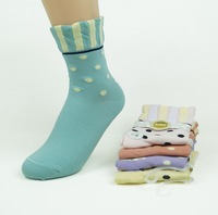 fashion cotton female socks stripe lace decoration dot socks 4pair/lot mix order free shipping