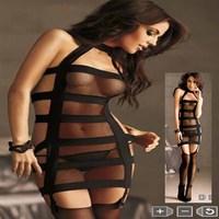 New 2014 black Perspective mesh women's slips & thongs bandage dress sexy lingerie ladies slip dress free shipping