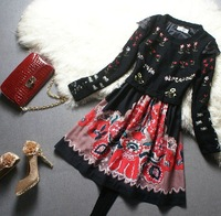 LP Daier Brand Women Black Knitting Printed Retro Casual Dress Free Shipping