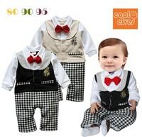 Toddler newborn baby romper long sleeve one piece cotton gentleman festival children kids clothes