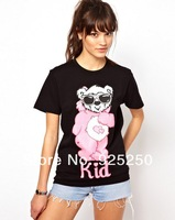 top for women fashion 2013 summer cute animal bear print cotton t shirt black color short sleeve TEE plus size  free shipping