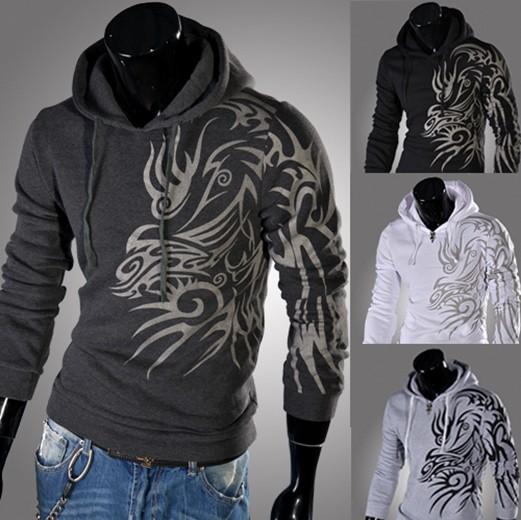 2014 Spring Fashion New Hoodies Sweatshirts,Dragon Printed Outerwear Hoodies Clothing Men.Outdoor Hoodies Men,Boys Sports Suit(China (Mainland))