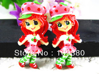 New arrival resin strawberry shortcake girl flatback resin for children decoration 20pcs/lot free shipping