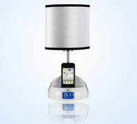 Music LED desk lamp.iPhone charger.alarm clock,ipod docking table lamp.home audio table lamp with built-in loudspeaker 708