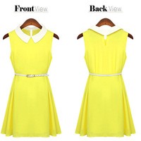 2014 Newest European Design Slim Fashion Women Sleeveless doll collar Vintage color Chiffon Casual Novelty Dress S-XL