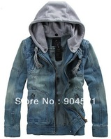 2014 Cotton Sport Men Detachable Hooded Denim Jacket Outcoat Cowboy Wear Patchwork Vintage Zipper Casual Plus Size XXXL