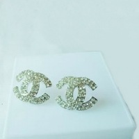 Fashion Brand Punk Rhinestone Letter Stud Earrings For Women Gift Wholesale Charm Bling Crystal Jewerly For Wedding Dress