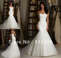 Free Shipping Sexy Mermaid Strapless Lace Up White Ivory Tulle Bridal Gown 2014 Wedding Dress Size 2 4 6 8 10 12 14 16 In Stock
