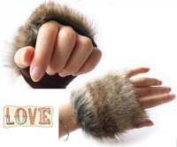 Wholesale and retail New 2013 Fashion Women Fur Glove Women Fingerless Mittens Iglove Winter Gloves 6 Color Fast Shipping