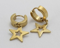 star earrings  for women stainless steel  hoop Earrings black and  glod  color for choose E-027