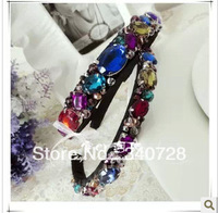 Luxury Vintage Baroque Statement Colorful Gem and Rhinestone Wide Hairbands Headband Fashion Hair Accessories for Women