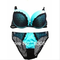 Free Shipping.Deep V Push Up Sexy  Women Bra Set With Embroidery.Brassiere+Underwear For Women Female