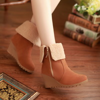 Slip-resistant DAPHNE two ways wedges boots berber fleece thermal short-leg medium-leg boots side zipper boots snow boots