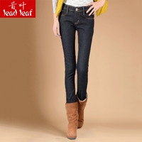 Winter plus velvet thickening slim skinny pants women's plus size denim pencil pants thermal