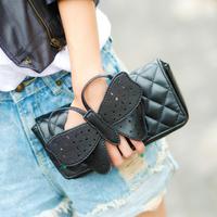 2013 women leather handbags plaid bow day clutch shoulder bag cross-body bag small fashion clutch women messenger bags
