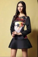 Free Shipping !New Arrival 2014 Brand Runway Long Sleeve Fashion Vintage Printed  Fishtail Bodycon Dresses