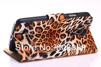 Leopard Leather Case for Samsung I9500 Galaxy S IV, free shipping by DHL EMS